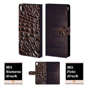 Sony Xperia Z5 Premium Holz - Croco Optik Handy Tasche Hülle Foto Bild Druck