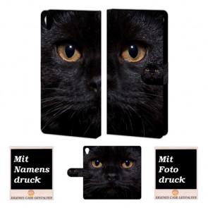 Sony Xperia Z5 Premium Handy Hülle mit Fotodruck Schwarz Katze