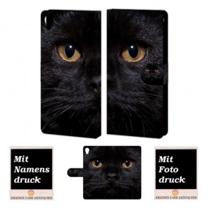 Sony Xperia Z5 Handy Tasche mit Fotodruck Schwarz Katze Etui
