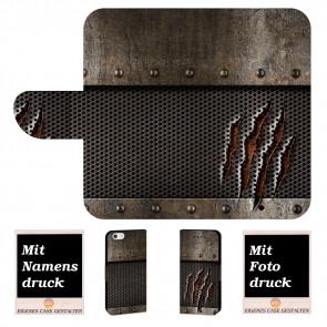 iPhone 7 Handyhülle Tasche mit Tür Monster Metall + Fotodruck Etui