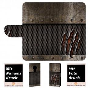 Motorola Moto E5 Handyhülle mit Tür Monster Metall + Bilddruck Etui