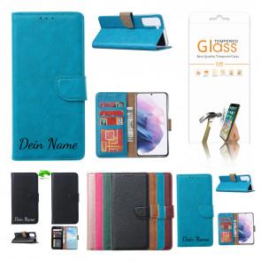Samsung Galaxy A42 Schutzhülle mit Namensdruck und Displayschutz Glas Türkis