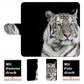 Motorola Moto E5 Plus Handyhülle Tasche mit Tiger + Fotodruck Text