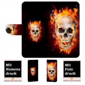 Sony Xperia XA3 Ultra Handyhülle mit Totenschädel - Feuer + Fotodruck