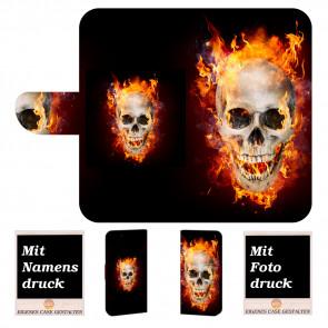 Samsung Galaxy Note 10 Plus Handyhülle mit Bilddruck Totenschädel Feuer