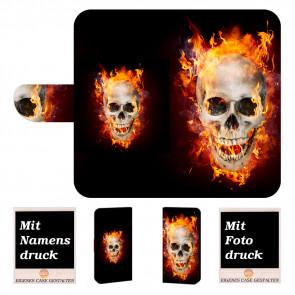 Samsung Galaxy S10 Lite Handyhülle mit Totenschädel - Feuer + Bilddruck