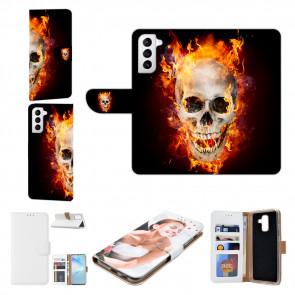 Samsung Galaxy S21 Plus Handyhülle mit Bilddruck Totenschädel Feuer