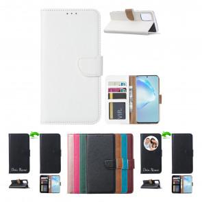 Schutzhülle für Samsung Galaxy A21s mit Namensdruck Weiß Etui