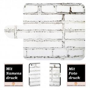 Individuelle Schutzhülle für iPhone 7 mit Weiße Mauer + Fotodruck Text