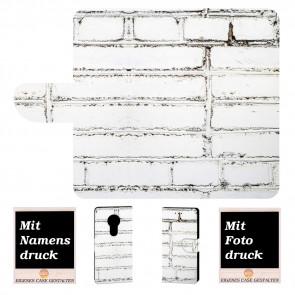 Handyhülle für Motorola Moto E5 Plus mit Weiße Mauer +Fotodruck Text