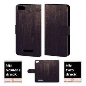 Wiko Lenny 2 Holz Optik Handy Tasche Hülle Foto Bild Druck