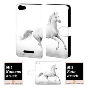 Wiko Lenny 2 Pferd Handy Tasche Hülle Foto Bild Druck