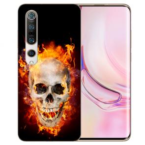 Xiaomi Mi 10 Pro TPU Silikon Handy Hülle mit Fotodruck Totenschädel Feuer