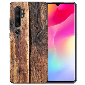 Xiaomi Mi CC9 Pro Silikon TPU Hülle mit Fotodruck HolzOptik