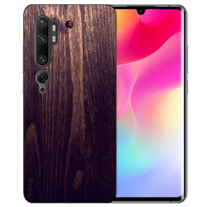 Xiaomi Mi CC9 Pro Silikon TPU Hülle mit Fotodruck HolzOptik Dunkelbraun