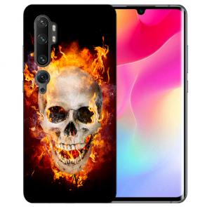 Silikon TPU Hülle mit Fotodruck Totenschädel Feuer für Xiaomi Mi CC9 Pro