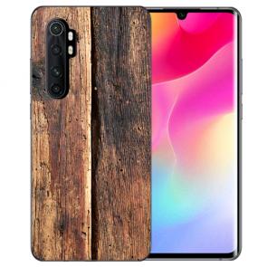 Xiaomi Mi Note 10 Lite Silikon TPU Hülle mit Bild Namendruck HolzOptik