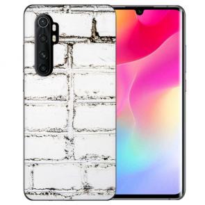Xiaomi Mi Note 10 Lite Silikon TPU Hülle mit Bilddruck Weiße Mauer